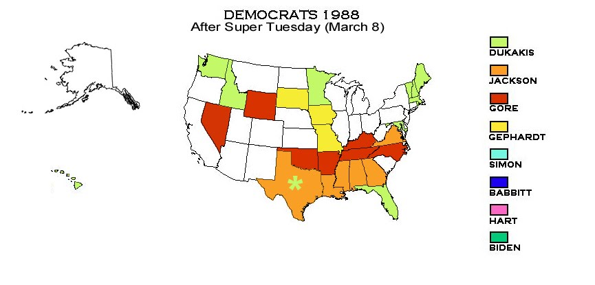 Presidential Primaries And Caucuses Democrats 1988 Primarycaucus