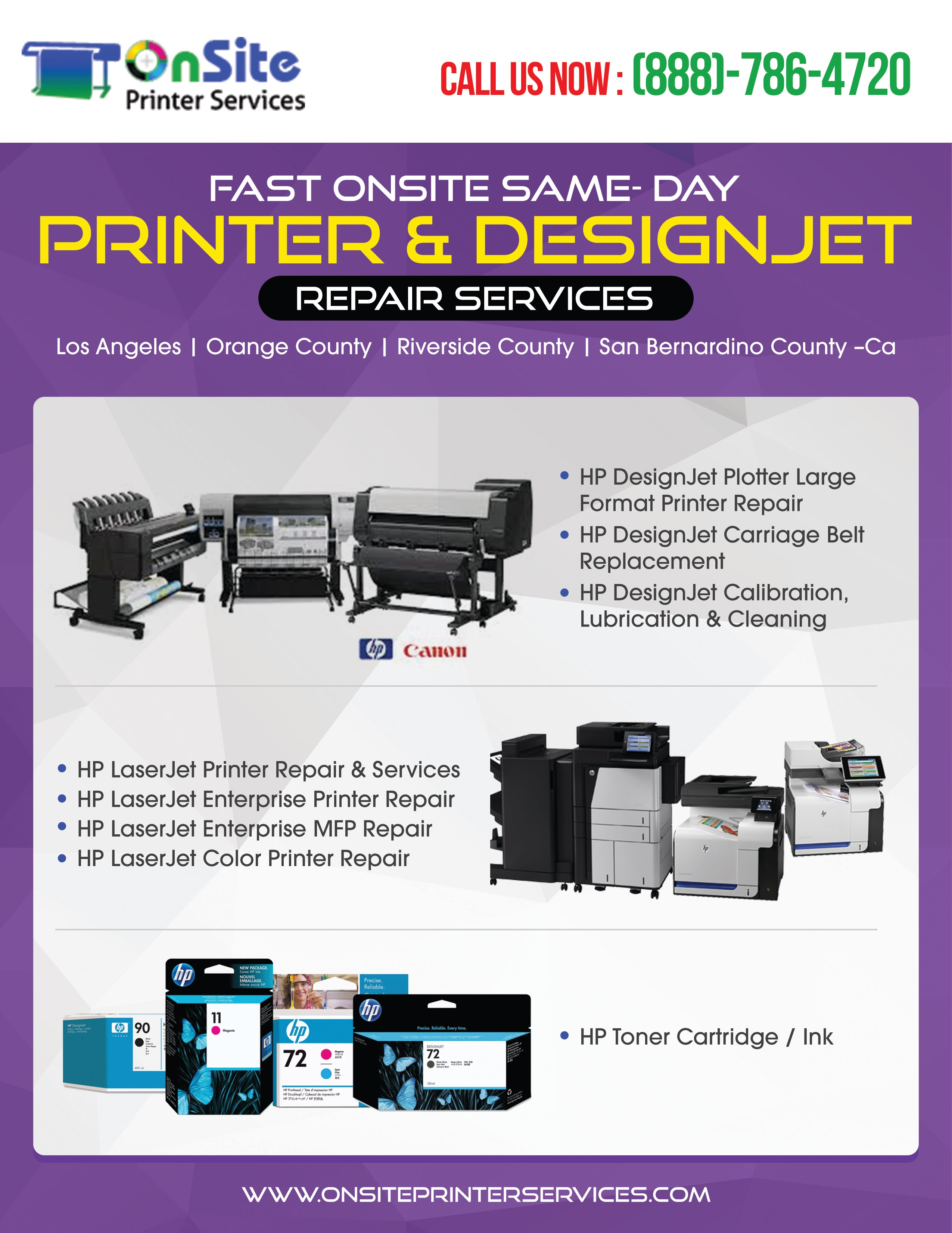 Hp Designjet Repair San Bernardino County Ca Plotter T520 24 Inch 888 786 4720 Southern Californias Fast Onsite Printer Services Los Angeles Orange