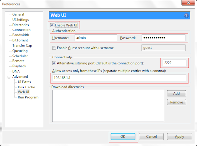 Enabling Web-UI and Remote access in utorrent - Project Code Bank