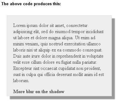 Shadow effect in CSS3