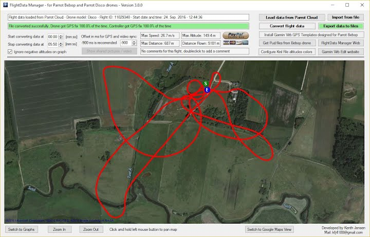 FlightData Manager for Parrot Anafi, Parrot Bebop and Parrot