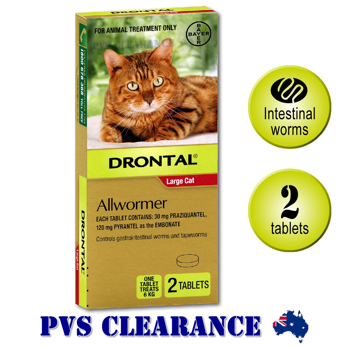Details about Drontal Allwormer Red for Large Cats Up To 6 kg - Cat Wormer  - 2-Pack