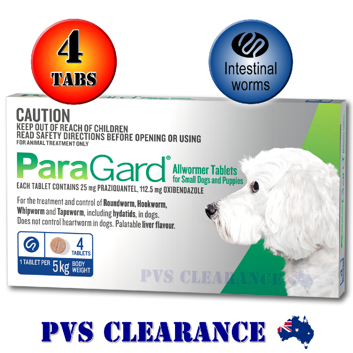 Details about Paragard Blue 4 Allwormer for Small Dogs Up To 5 kg 4-Pack  Paraguard Tapeworm