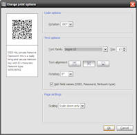 QR-Code Generator, print options dialogue, Windows, english