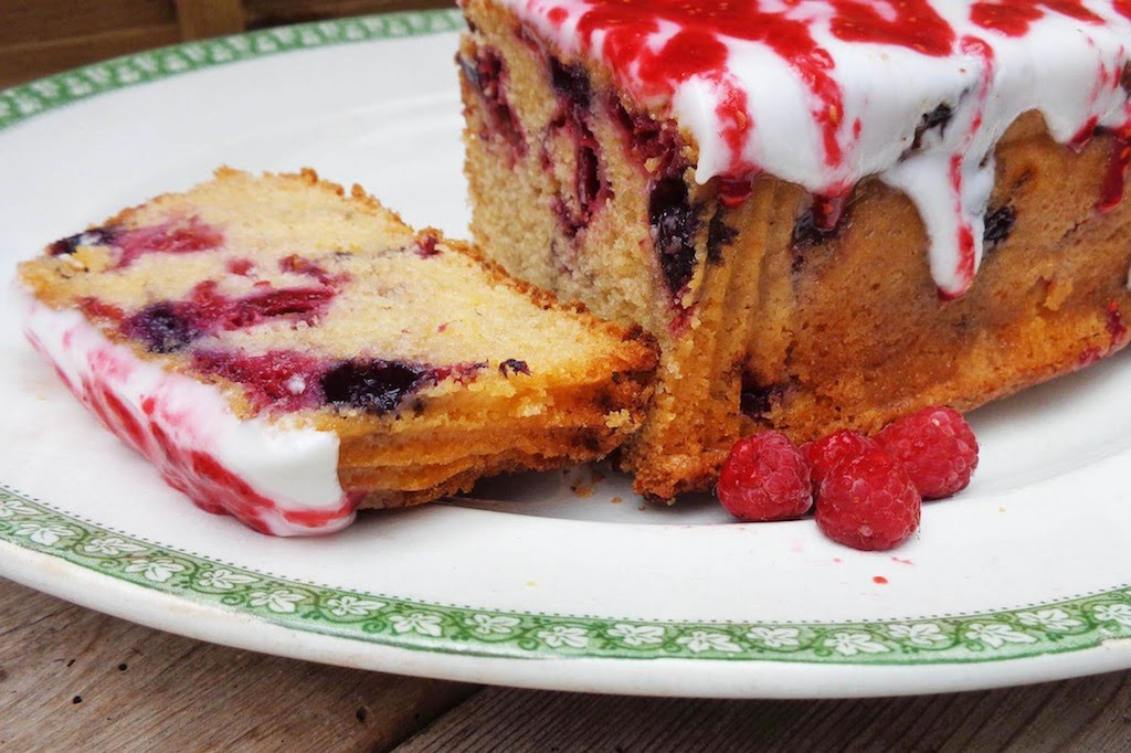 Raspberry and Apple Loaf Cake