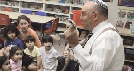 Rabbi Disick demonstrating the blowing of the Shofar