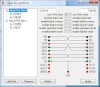 Example com0com GUI showing COM19 setup