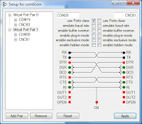 Example com0com gui showing COM20 setup