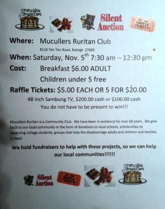 Come to our Breakfast / Raffle; LOTS of prizes to win !!!
