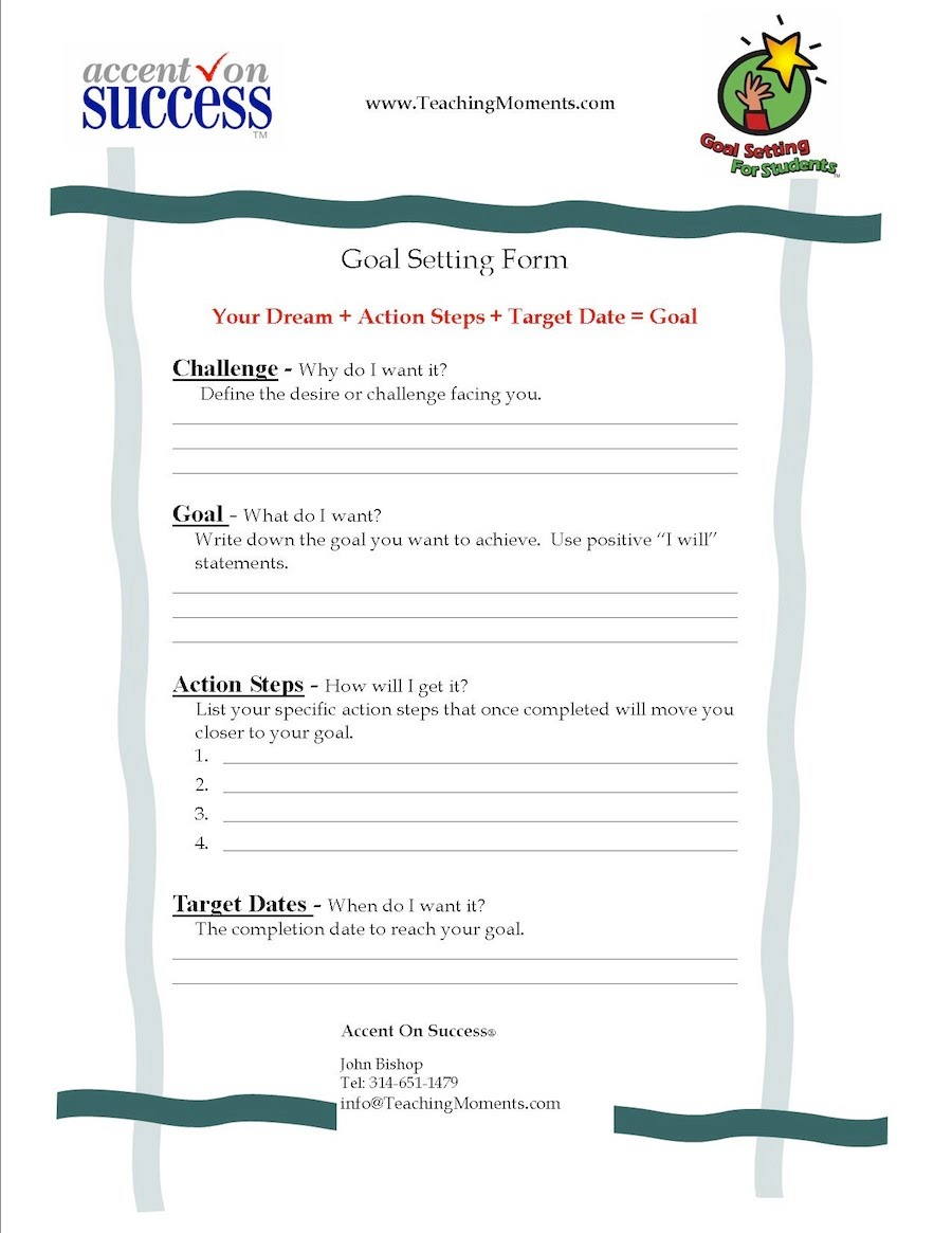 Goal Setting Reflection4Learning – Student Goal Setting Worksheet