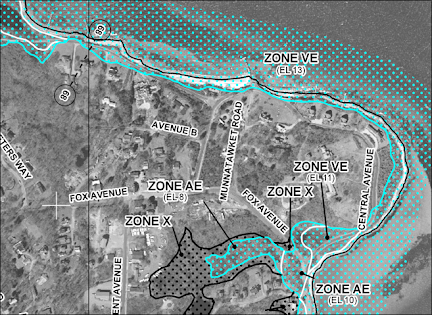 Detail of a coastal Flood Insurance Rate Map showing coastal flood zones