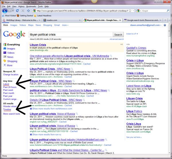 Google Search Tools - Resources and Search Strategies