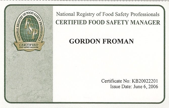 Food Safety Manager Certificate - Resume Gordie Froman