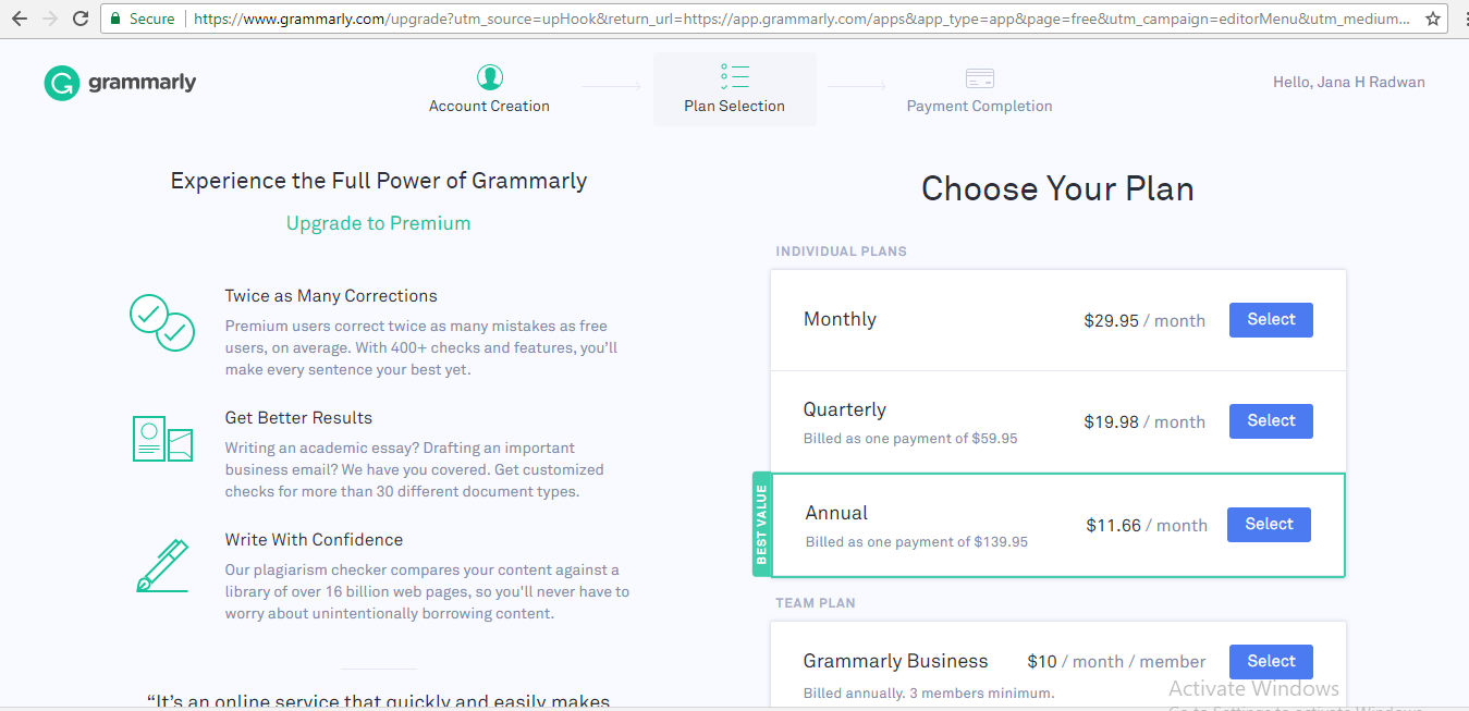 Grammarly Plans & Pricing Comparison