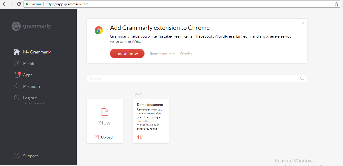 How to use Grammarly dashboard
