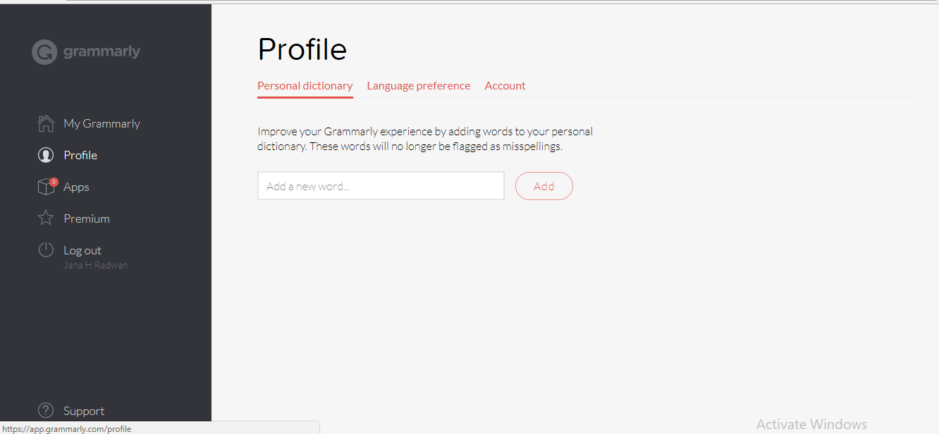 Your Grammarly Profile page.