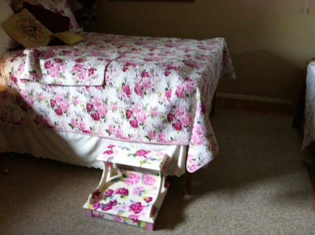 Painted step stool to match bed spread