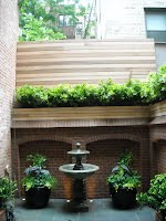 Cedar planter on parapet wall