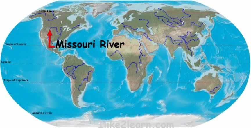 Mississippi River World Map Missouri River