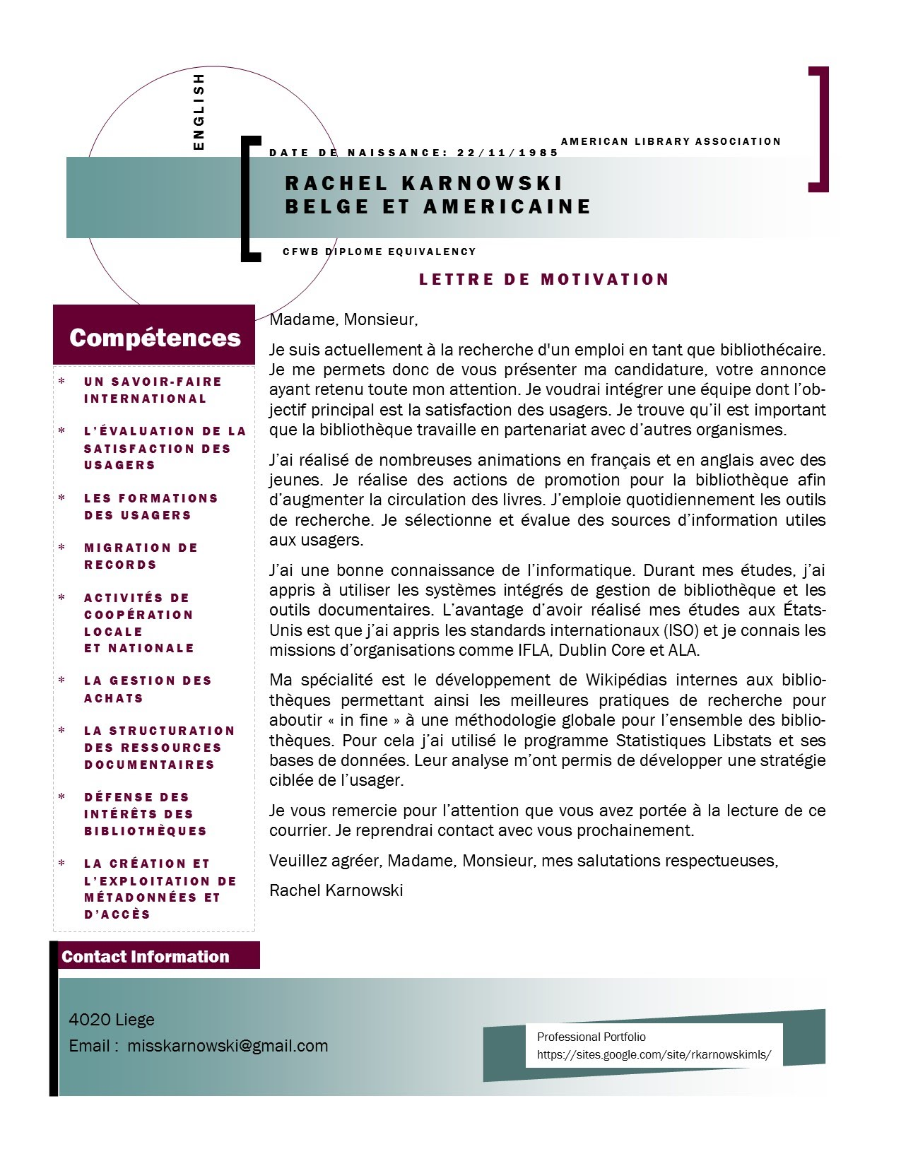 Lettre de motivation site de rencontre