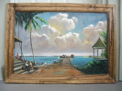the photo below shows a very large 24 inch by 36 inch painting framed with 4 inch wide tongue and groove