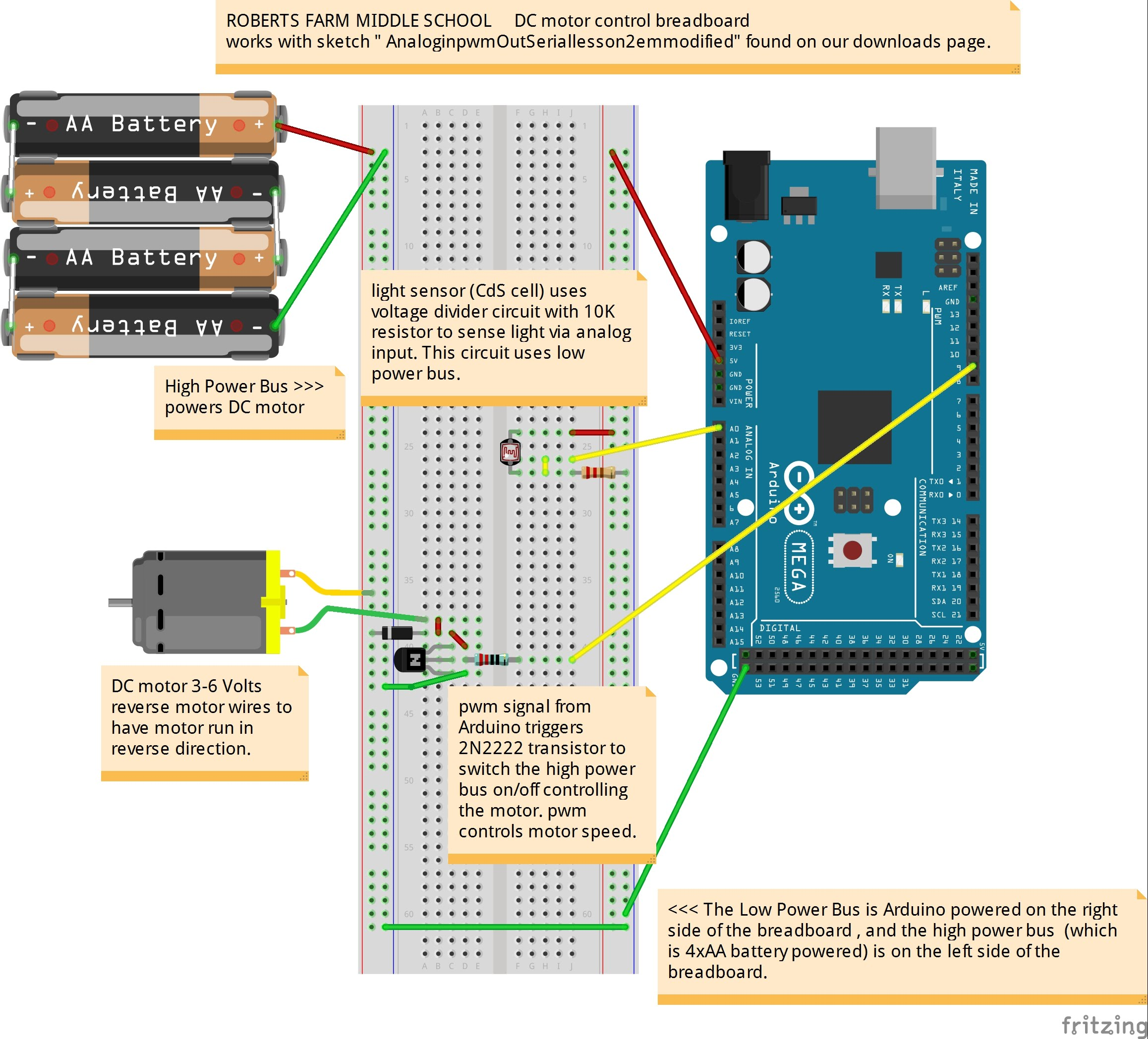 Lessons Homework Assignments Roberts Farm Arduino Tech Circuit For Measuring Temperature Using A Thermistor And Heres Good Explanation Of How Pulse Width Modulation Pwm Is Used To Control Motor Speed Or Led Brightness You Only Need View Up 500
