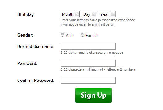 Signing Up Roblox Web