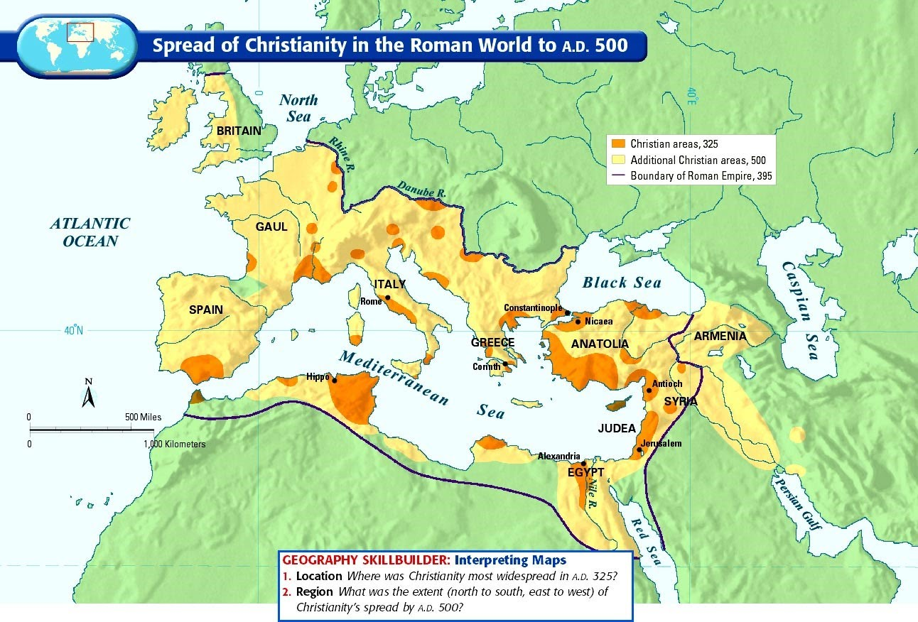 spread of christianity Christianity in the roman empire  many of the units based in britain were from the middle east and so christianity spread to britain quite quickly in the summer of 64 ad there was a very large fire in rome that burnt uncontrollably for weeks at this time there was a lot of bad feeling towards the christians.