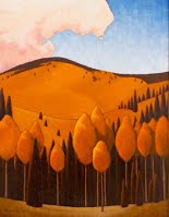 """Aspen Curve"" Abstract Stylized Oil Painting by New Mexico Artist, Ronnie Layden"