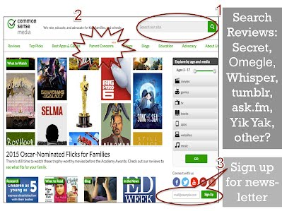 CommonSense Media site image to show how to search reviews.