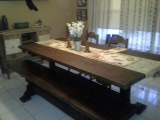 Simple Farm table triangle jointed trestle style table and bench Reclaimed wood table