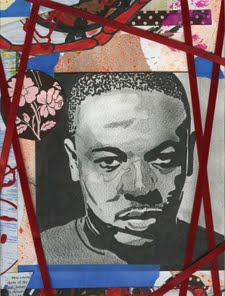 """Men esteem / skirts of the / star, before / eternity: Portrait of Dr. Dre,"" 2010, graphite, marker, and gouache on paper, ribbon, and tape, 8 x 10 in."