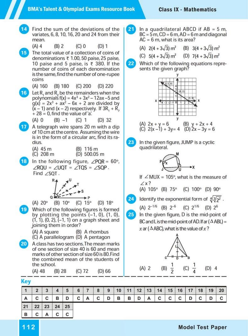 Model Test  Paper (BMA'S TALENT & OLYMPIAD EXAMS) 3