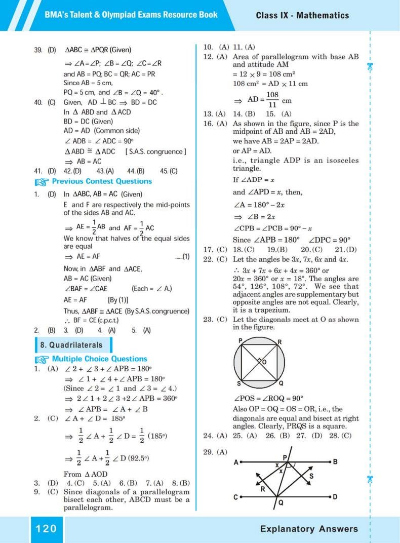 QUIZ Quadrilaterals (BMA'S TALENT & OLYMPIAD EXAMS) 7