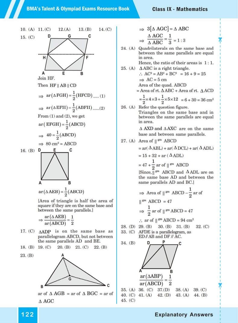 QUIZ Areas of Parallelograms  and Triangles (BMA'S TALENT & OLYMPIAD EXAMS) 8