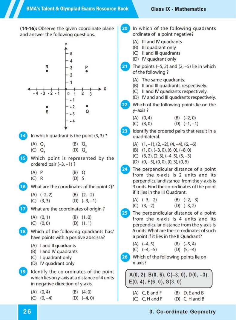 QUIZ Co-ordinate Geometry (BMA'S TALENT & OLYMPIAD EXAMS) 3