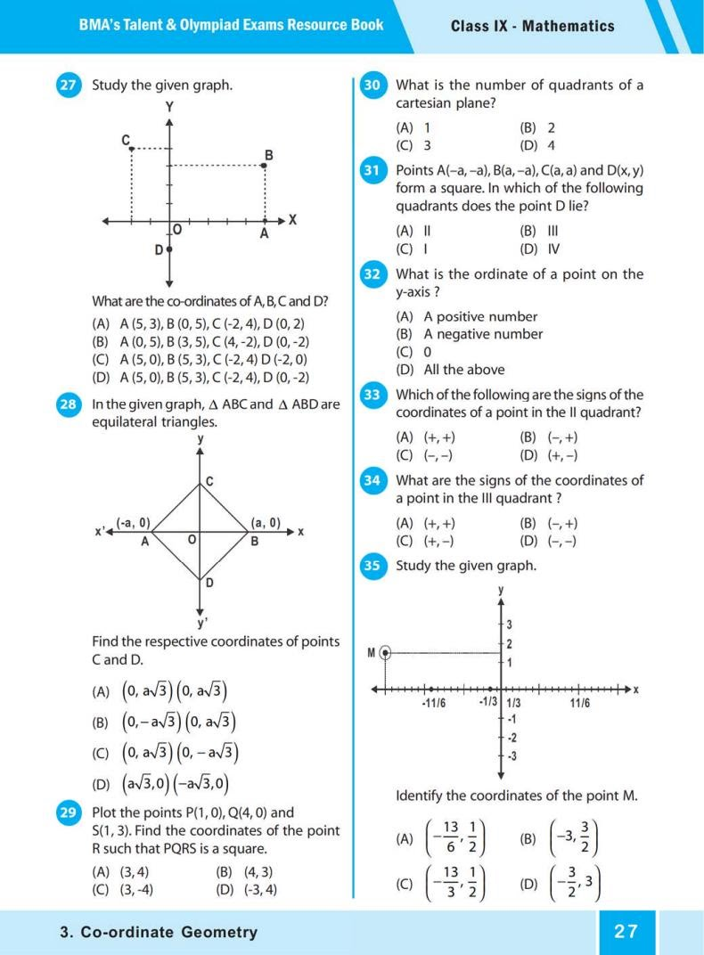 QUIZ Co-ordinate Geometry (BMA'S TALENT & OLYMPIAD EXAMS) 4