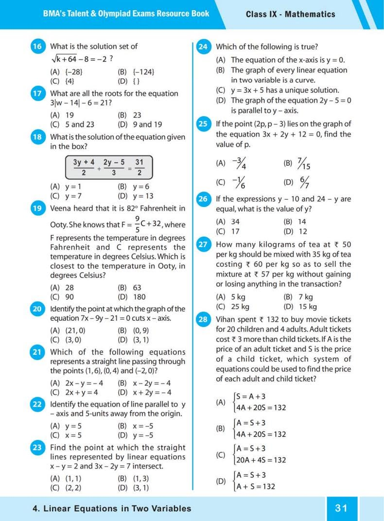 Quiz Linear Equations in Two Variables (BMA's Talent & Olympiad Exams) 2