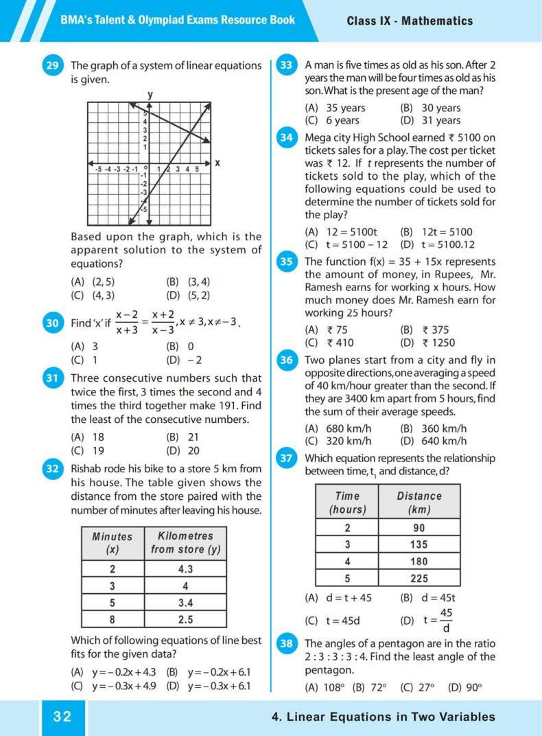 Quiz Linear Equations in Two Variables (BMA's Talent & Olympiad Exams) 3