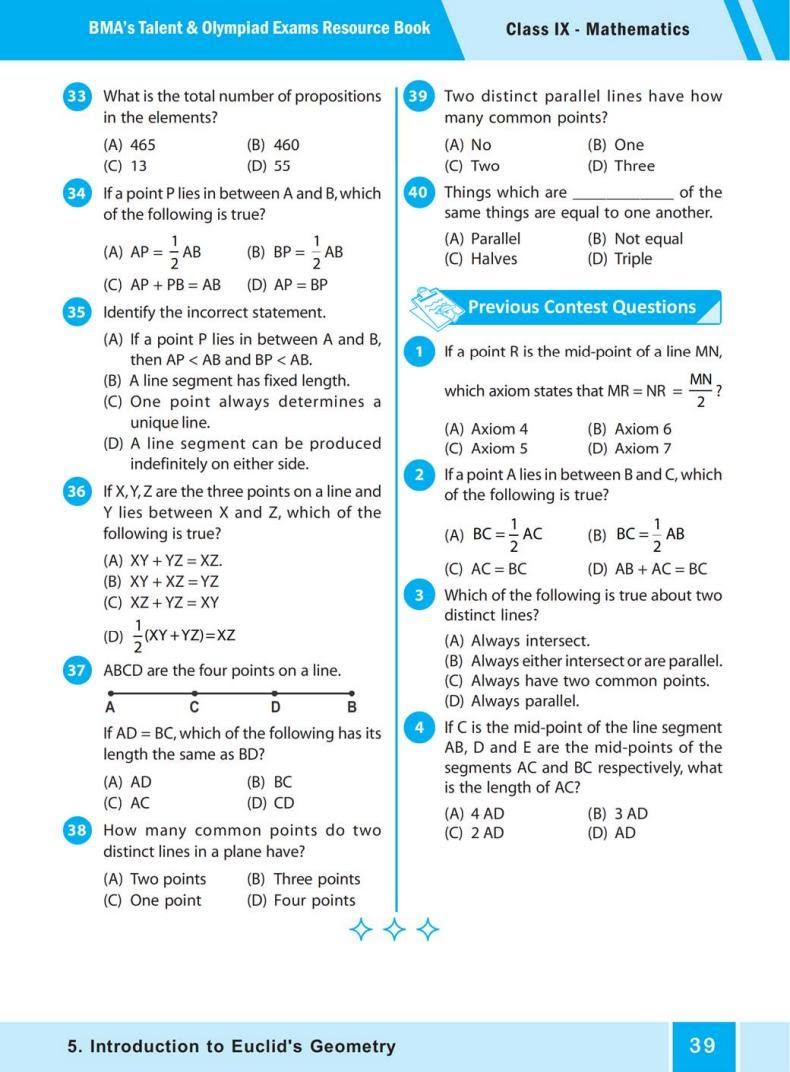 QUIZ Introduction to  Euclid's Geometry  (BMA'S TALENT & OLYMPIAD EXAMS) 3