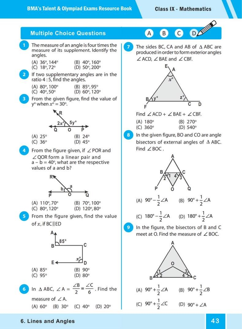 QUIZ Lines and Angles (BMA'S TALENT & OLYMPIAD EXAMS) 1