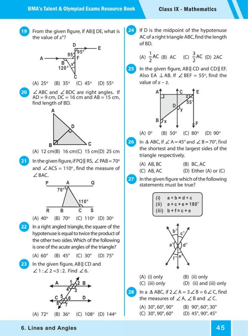 QUIZ Lines and Angles (BMA'S TALENT & OLYMPIAD EXAMS) 3