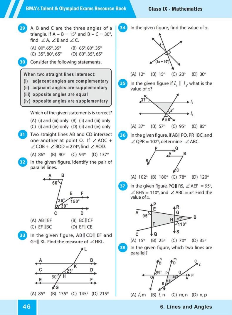 QUIZ Lines and Angles (BMA'S TALENT & OLYMPIAD EXAMS) 4
