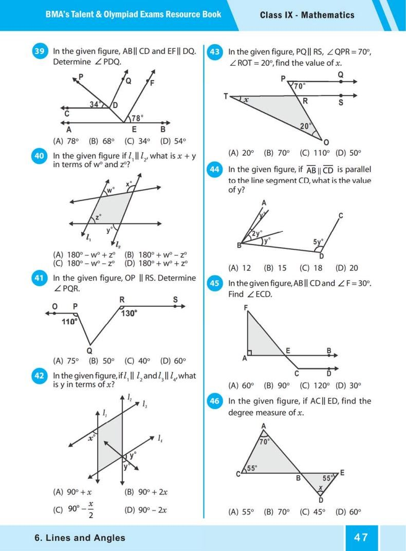 QUIZ Lines and Angles (BMA'S TALENT & OLYMPIAD EXAMS) 5