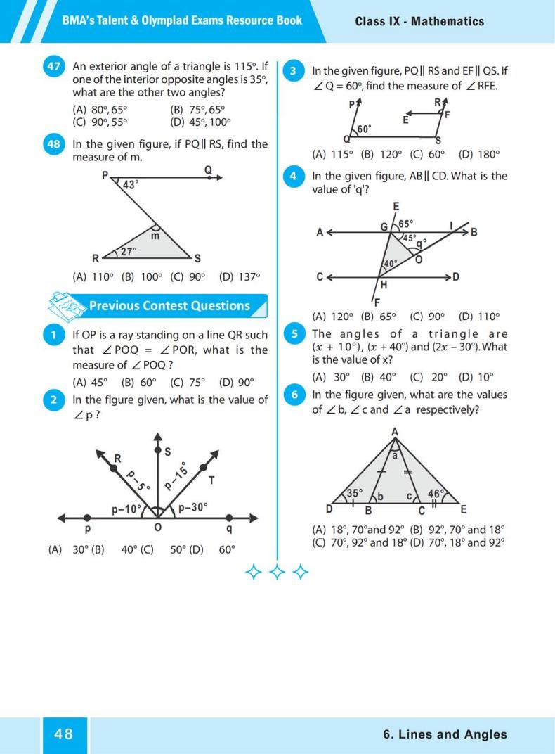QUIZ Lines and Angles (BMA'S TALENT & OLYMPIAD EXAMS) 6