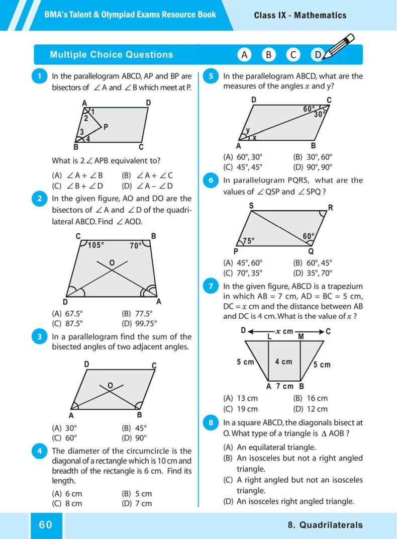 QUIZ Quadrilaterals (BMA'S TALENT & OLYMPIAD EXAMS) 2