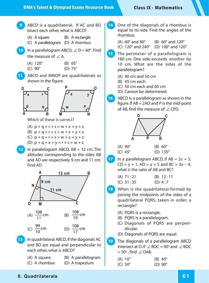 QUIZ Quadrilaterals (BMA'S TALENT & OLYMPIAD EXAMS) 3