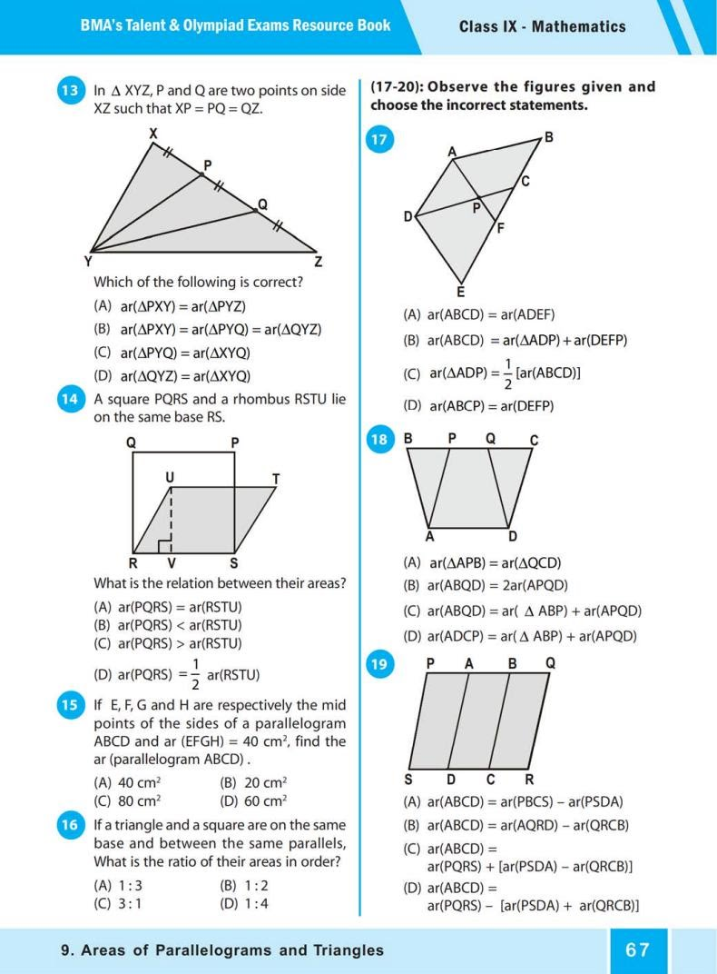 QUIZ Areas of Parallelograms  and Triangles (BMA'S TALENT & OLYMPIAD EXAMS) 2