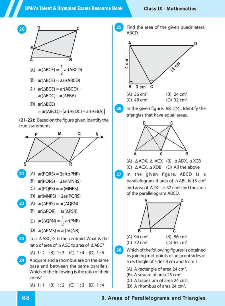 QUIZ Areas of Parallelograms  and Triangles (BMA'S TALENT & OLYMPIAD EXAMS) 3