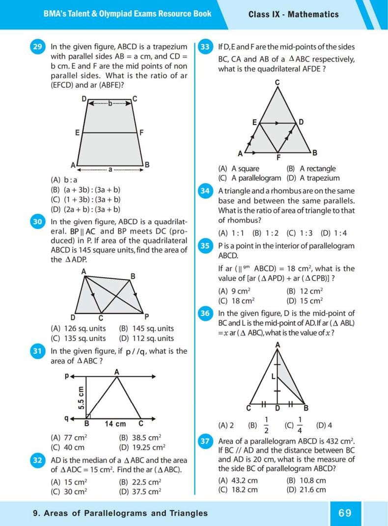 QUIZ Areas of Parallelograms  and Triangles (BMA'S TALENT & OLYMPIAD EXAMS) 4